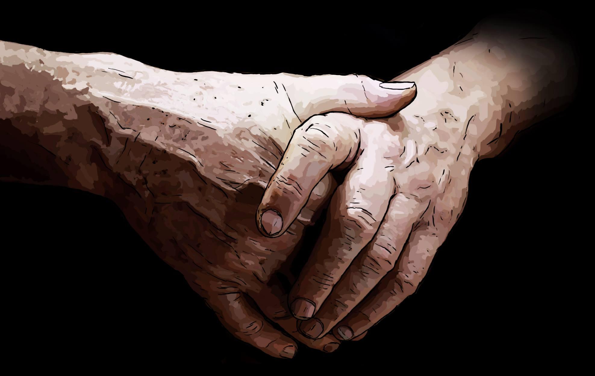 mains croisées homme